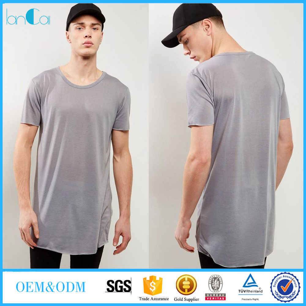 2017 Fashion Apparel Black Extreme Long line T-Shirt For Men With Short Sleeve