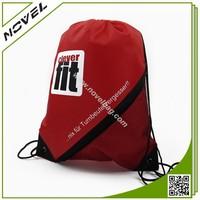 210D Polyester Drawstring Gym Bag Sport Pack With Side Mesh Bag
