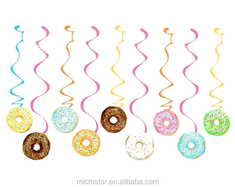 30pcs packed PVC ornaments pendant decorations donuts foil Swirls Banner