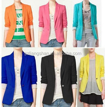 2015 OEM Wholesale Ladies Formal Solid Celebrity Style Women Foldable Candy Coloured Slim Fit Suit Jacket Coat Blazer