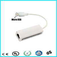 white micro usb to ethernet lan network rj45 card adapter for android os tablet