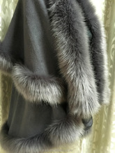 Fur Story Natural Cashmere Shawl with Fox Fur Collar Hight Quality Winter Outwear Poncho Multiple Colors