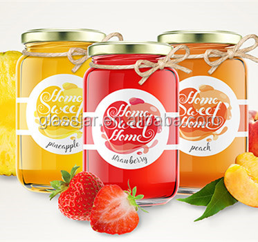 350ml 500ml Printed clear antique glass jar with tin lid for fruit jam jelly
