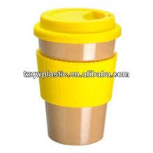 16oz insulated plastic coffee mug with Silicone lids and band