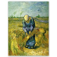 ROYI ART Van Gogh Oil Painting handing on wall decor of Peasant Woman Binding Sheaves after Millet