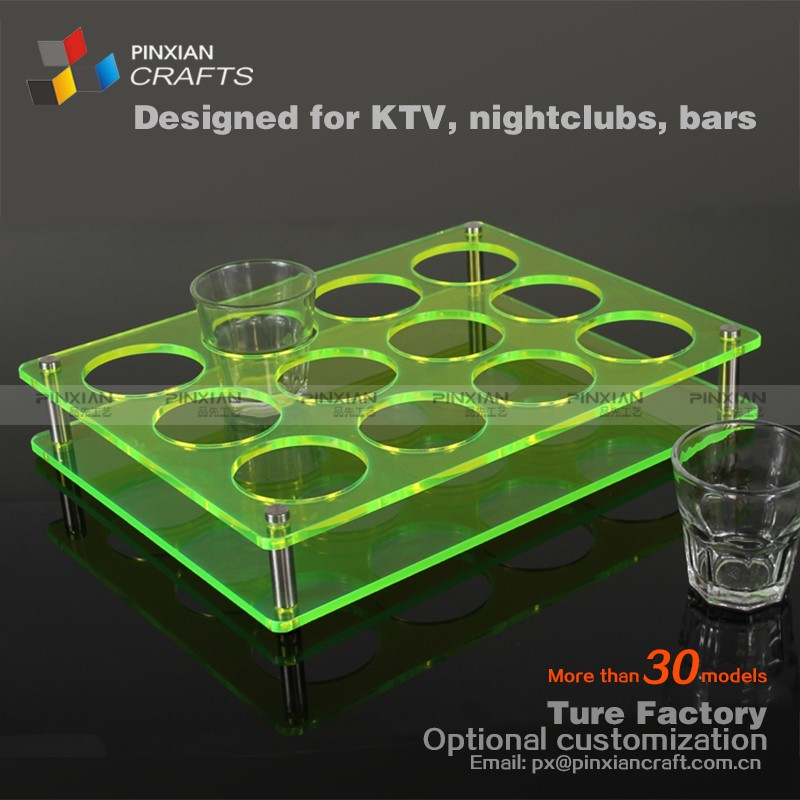12 holes Transparent panel fluorescent green plate customized free stand acrylic beer glass cup rack