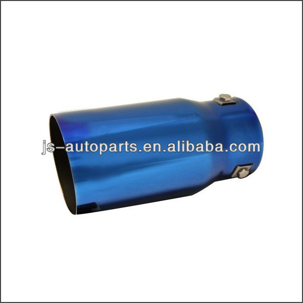 Inlet 2.875 Outlet3.5 Slant Cut W No Resonated Metallic Blue Exhaust Tip