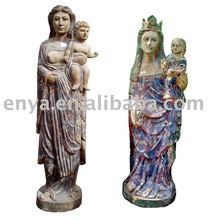 Virgin Mary Sculpture, holy Wooden Carved Statue, religious figurines