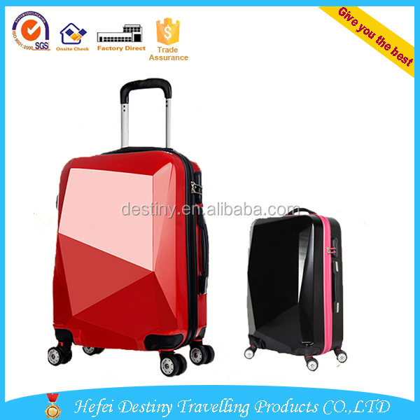 diamond cut surface travel advanced fashion trolley bag for ladies