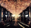 Fiber optic lighting make grass pattern for wedding hall