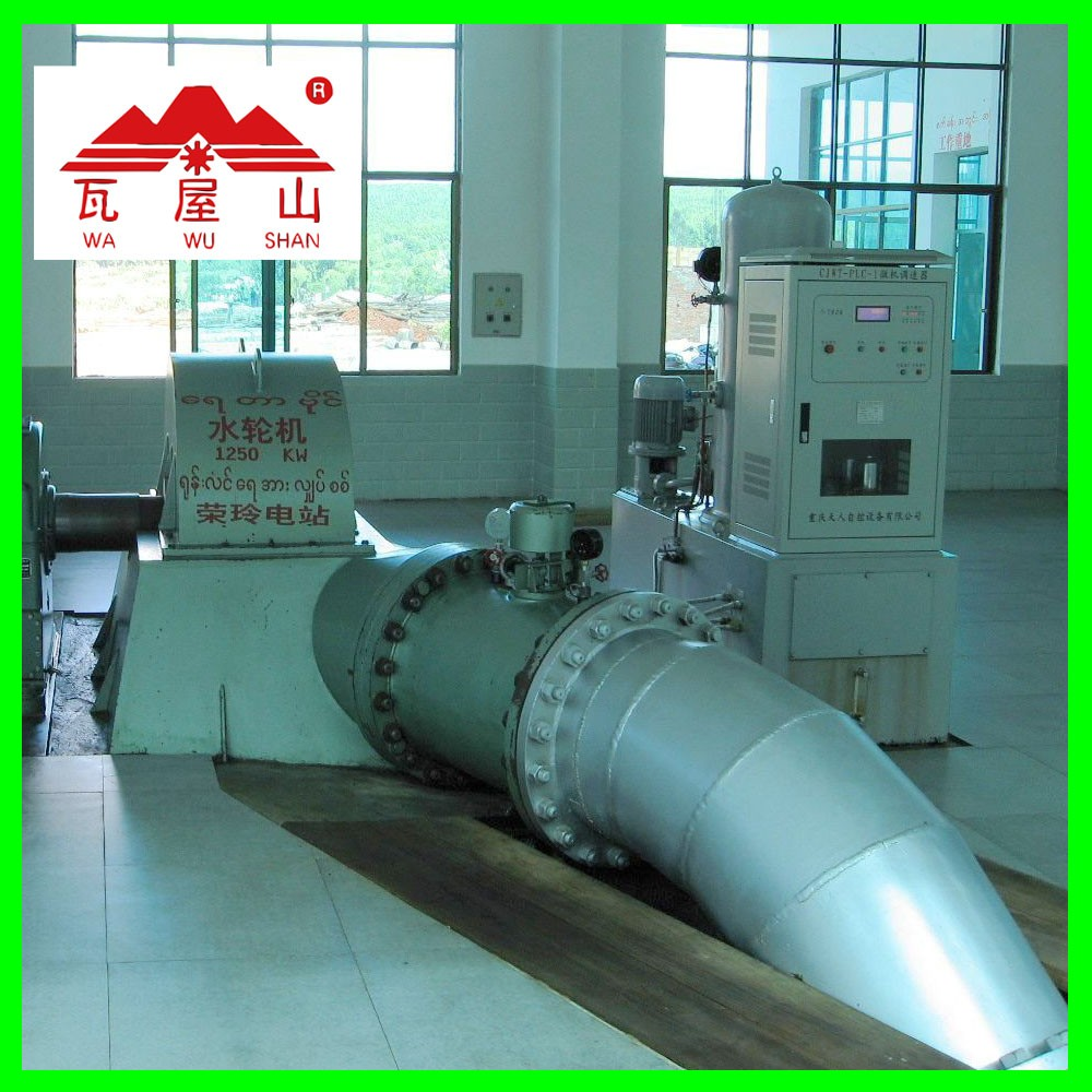 jet turgo turbine for hydraulic power plant
