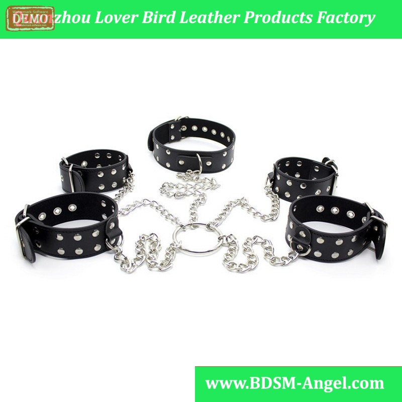 1Set Stainless Steel Crossing Pu Leather Handcuffs Ankle Cuffs Connect Slave sexy Collar Sex Toy Bondage Set Sextoys For Adults
