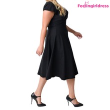 New V Neck Cap Sleeve One Piece Plus Size Dresses For Women Sexy