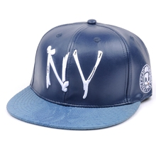 OEM Best selling plastic letters logo blue leather snapback caps wholesale hats