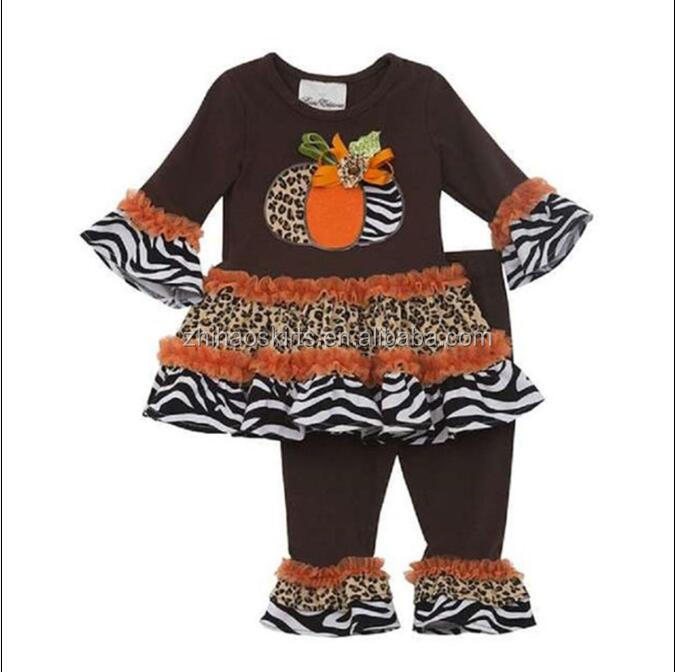 New Style Western Girls Fashion 2pcs Outfit With Pumpkin ...