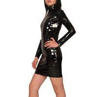 Black Tight High Quality Cheap Fashion Sexy Hot Leather Catsuit