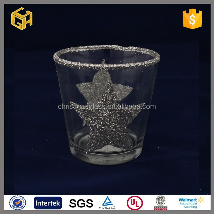 The stars pattern clear christmas glass candle holder cup, christmas gift
