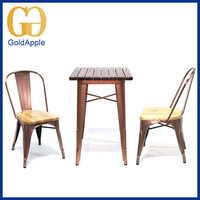 Outdoor square garden table and chairs electroplate metal wood chair garden table