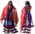 Blue and red silk hand embroidered lehenga choli