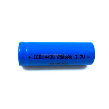 high power rechargeable li-ion battery cell ICR14430 3.7V 650mAh for Electronic firecracker& bluetooth speaker
