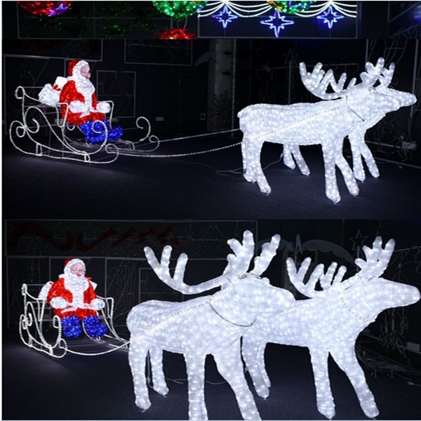 Outdoor 3d christmas decoration led reindeer sleigh with for 3d garden decoration
