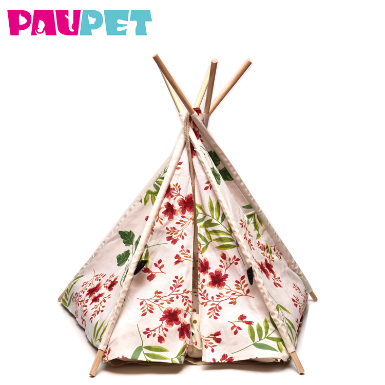 Outdoor fashion design foldable cotton canvas fabric pets supplies warm soft portable teepee bed pet tents houses