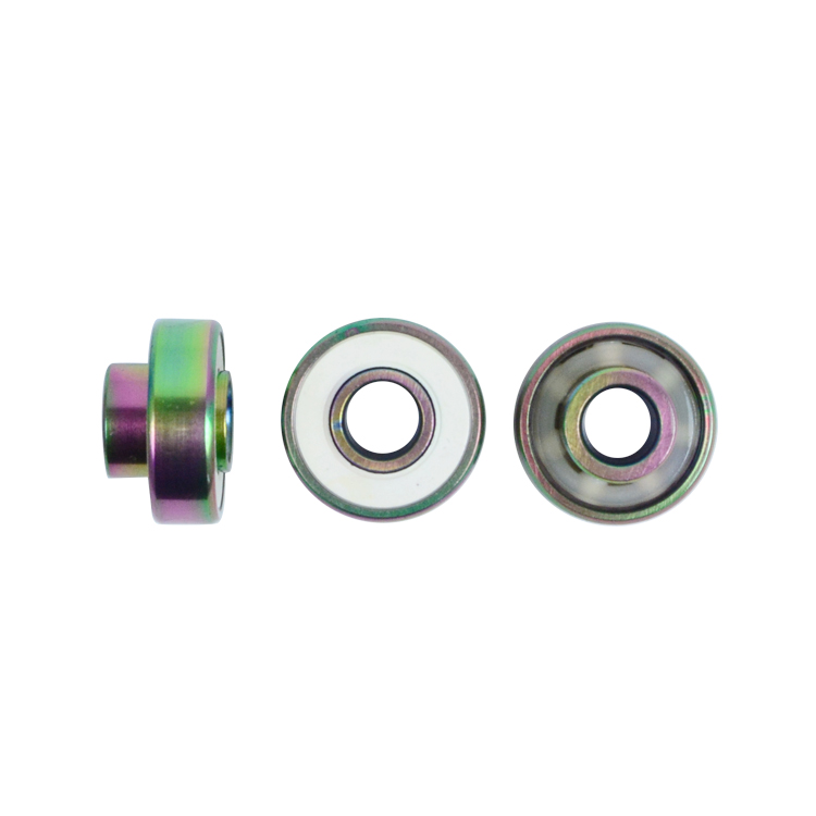 Vacuum Rainbow Color Ceramic Balls Skateboard Bearings With Built-in spacers