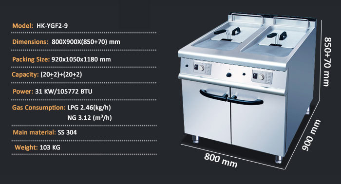 Double Tank Commercial Stainless Steel Gas Electric Deep Fryer