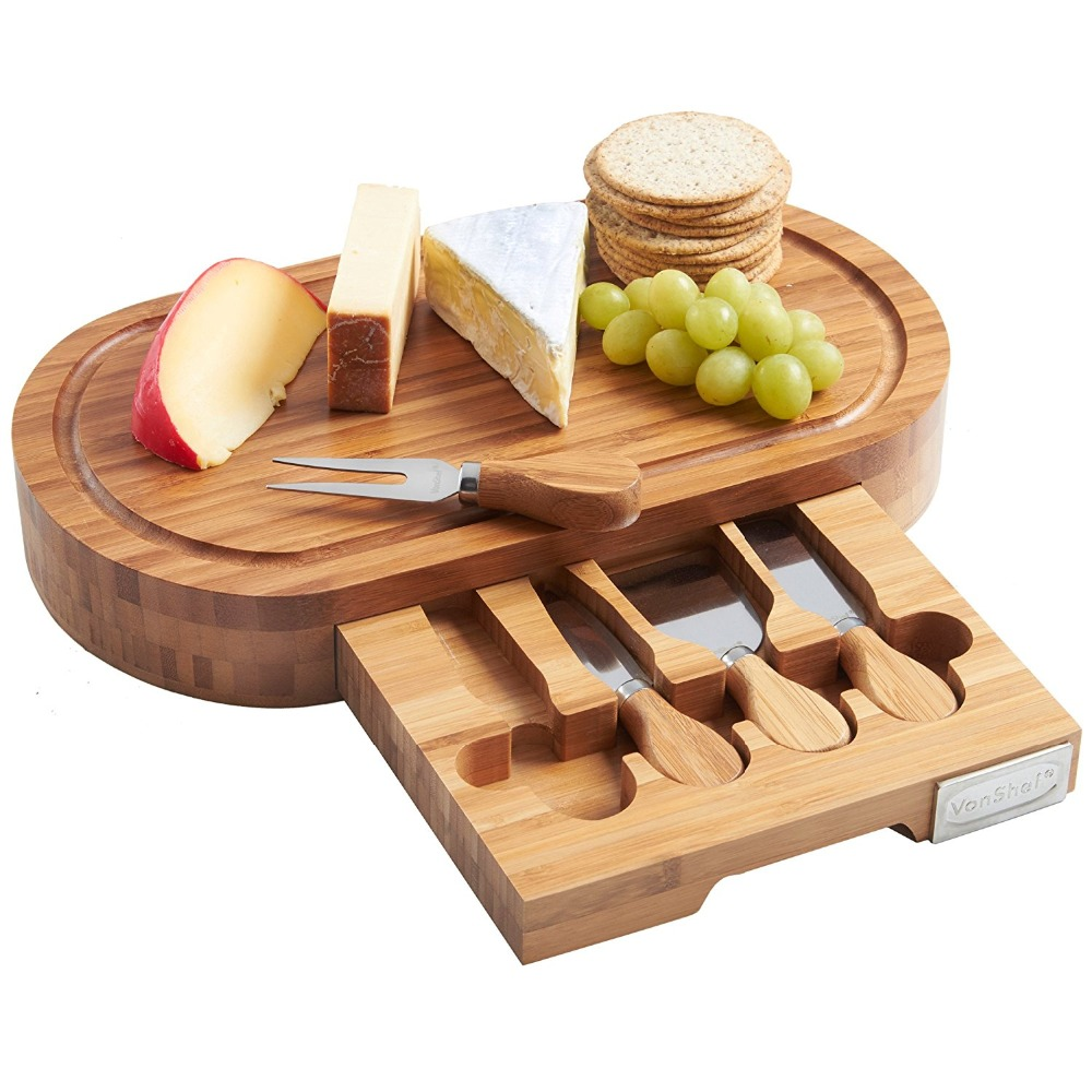 oak wood mini cheese cutting board with drawer and knives