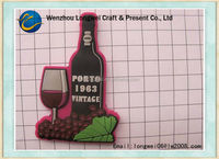 wine bottle shaped pvc rubber fridge magnet material/fruit fridge magnet