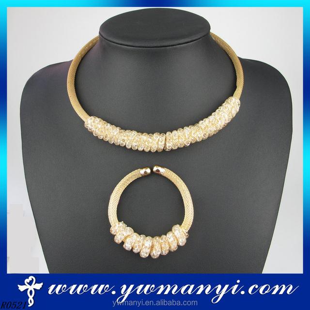 Wholesale Fashion Jewellery 2016 crystal dubai handmade Necklace and Bracelet Brass Jewelry S0007