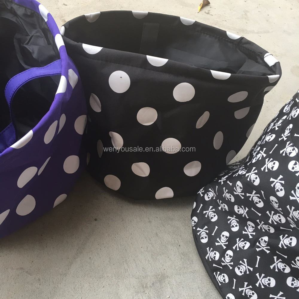 Black And Orange Polka Dots Easter Buckets Halloween Trick Or Treat Bags Wholesale Halloween Bag