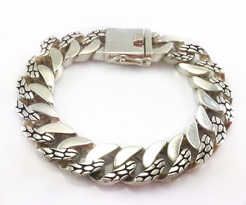 925 sterling silver snake link bracelet for men
