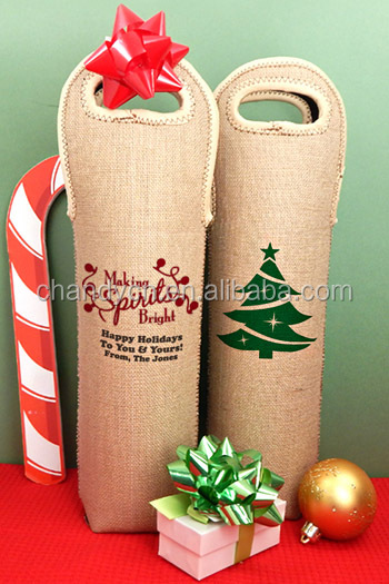 monogram Personalized Insulated Burlap Christmas Wine Tote Bags