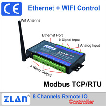ZLAN6844 8 channels WIFI + LAN + Modbus TCP/RTU i/o module Remote I/ O Controller DI/DO/AI data collector