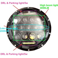 4x4 75w LED headlights, 12v 24v 75w LED work lights, Jeep headlights