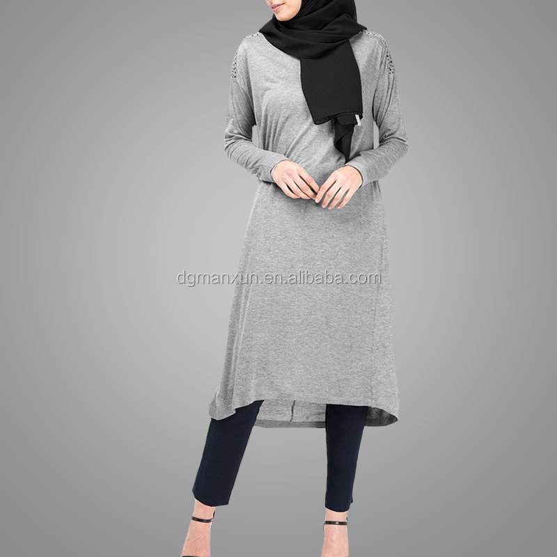 Fashionable Wholesale Dubai Dress Hotsale Casual Islamic Clothing Apparel  Long Sleeve Round Neck Cotton For Muslim Ladies