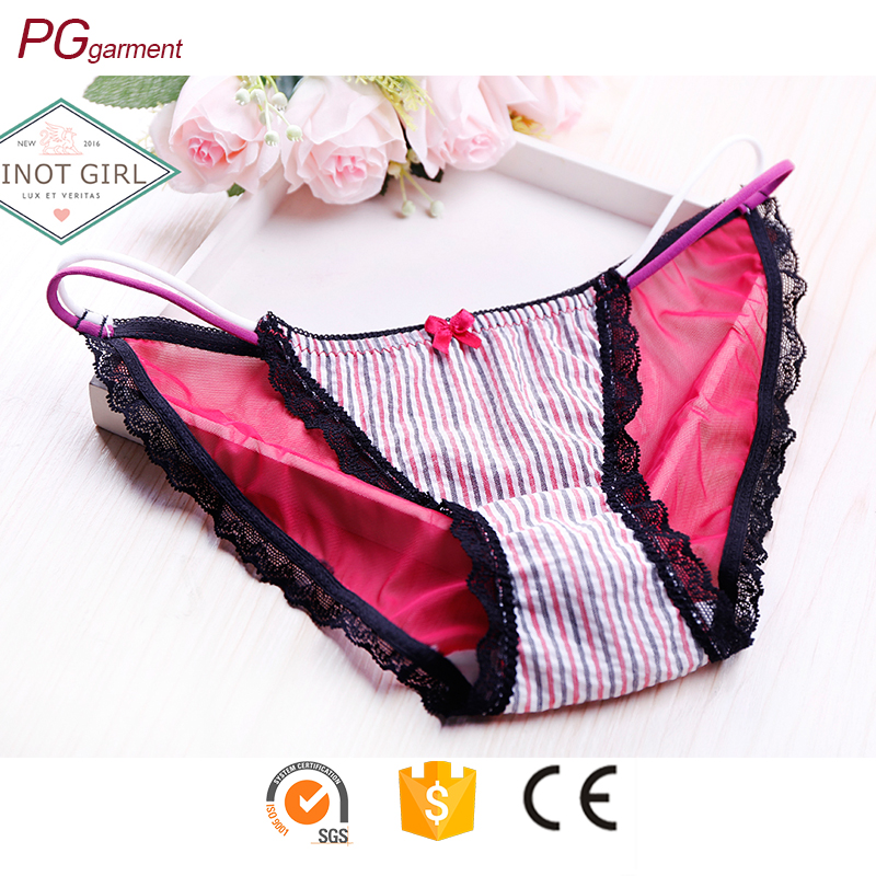 Fashionable sheer lace and cotton G-String underwear women cotton panty teen underwear
