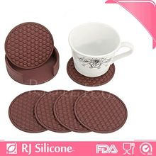 RJSILICONE round shaped wine cup silicone coaster set with holder silicone drink coasters black