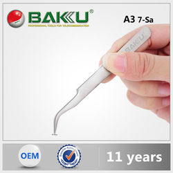 BK A3 BaKu Anti-Magnetic Anti-Acid Not-Corrosive Precision Widely Useful Tweezers Stainless Curved Tip Tweezers