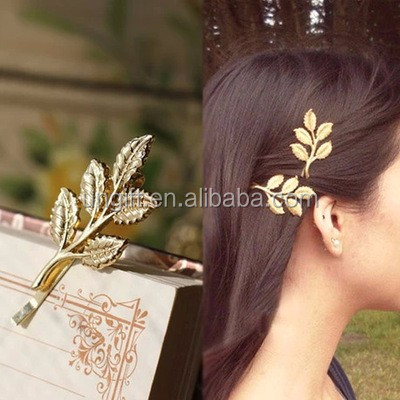 Leaves Elegant Jewelry European Fashion Noble Special Lovely Band Punk Gold Leaf Hairpin Hair Clip Hair Accessory Women
