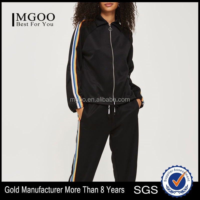 MGOO Wholesale Women Polyester& Viscose Track Jacket Loose Fit Side Striped Sport Jackets