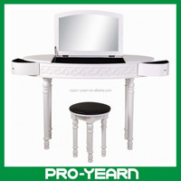 Modern Makeup Dresser Wooden Dressing Table with Mirrors and Rotatable Drawers and Stool and Stylish Designs for Bedroom