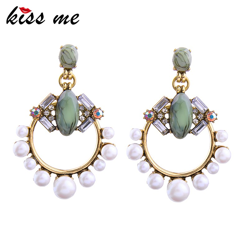Imitation Turquoise Stone Circular White Glass Crystal Resin Pearl Bead Gold <strong>Earring</strong>