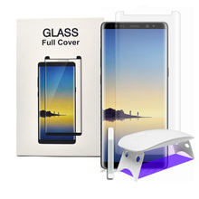 For Samsung Galaxy Note8 s8 s9 plus 3D Curved Full Coverage Tempered Glass Screen Protector with Install Kit & UV Light Liquid
