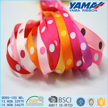 Promotional polyester material printed fashion dots ribbon