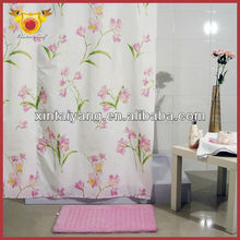 Floral Design Polyester Shower Drapes Terylene Curtain Fabric