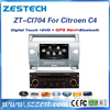 Zestech hotsale car navigation radio dvd car dvd gps navigation system for Citroen C4 dvd with gps bluetooth aux
