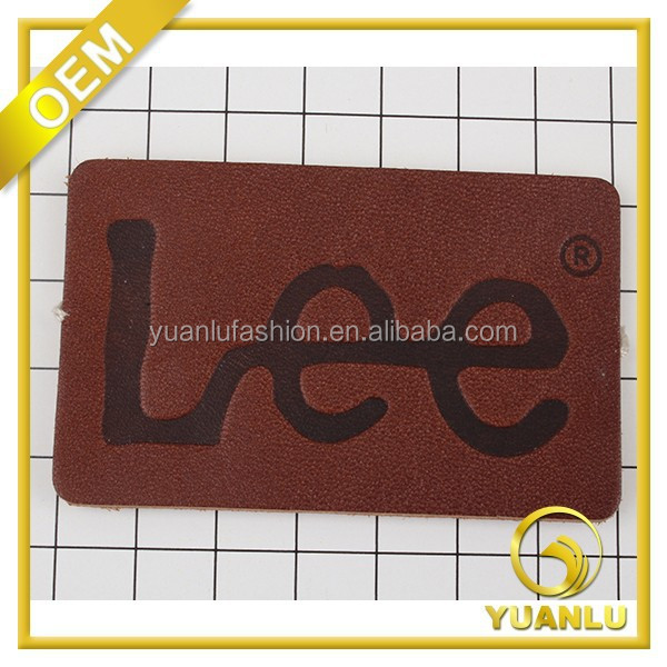 jeans real leather patch with embossing stamp logo