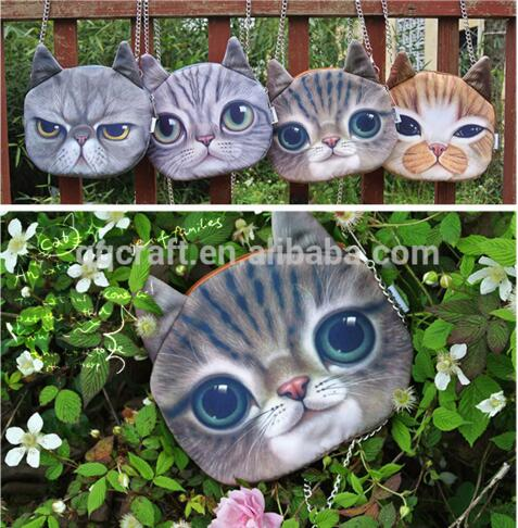 wholesale china mini cheap unique funny cat face coin purse